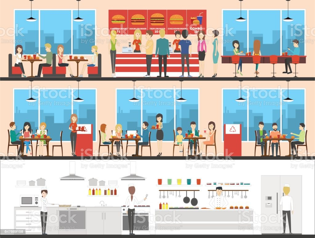 Fast food interior set with visitors, menu and kitchen. vector art illustration