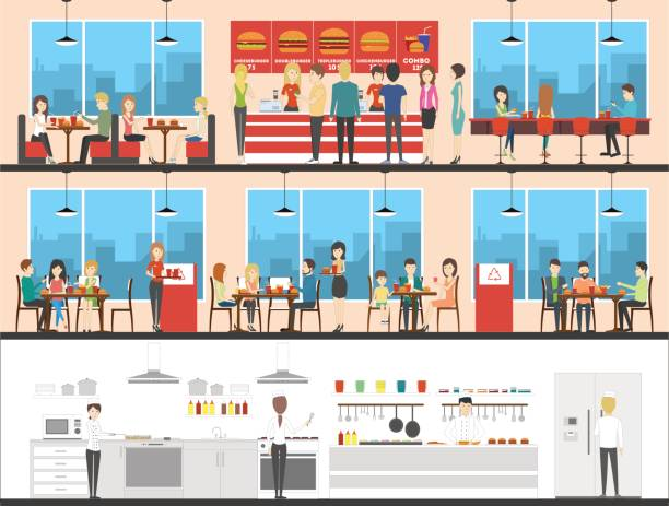 illustrazioni stock, clip art, cartoni animati e icone di tendenza di fast food interior set with visitors, menu and kitchen. - kitchen situations