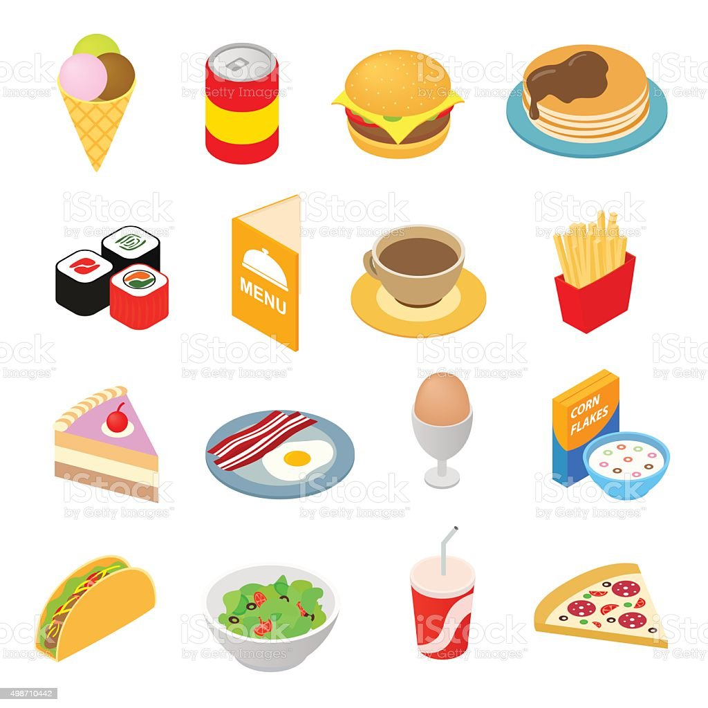 Fast food isometric 3d icons set vector art illustration