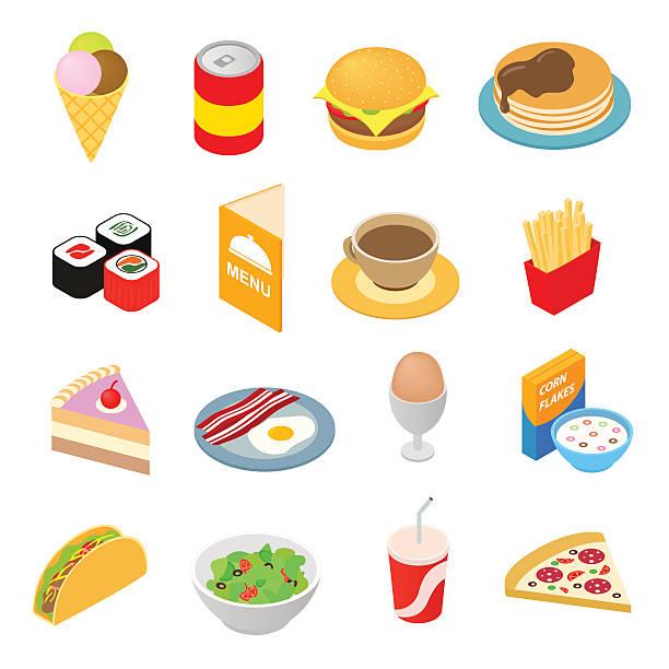 fast food isometric 3d-icons set - hamburger schnellgericht stock-grafiken, -clipart, -cartoons und -symbole