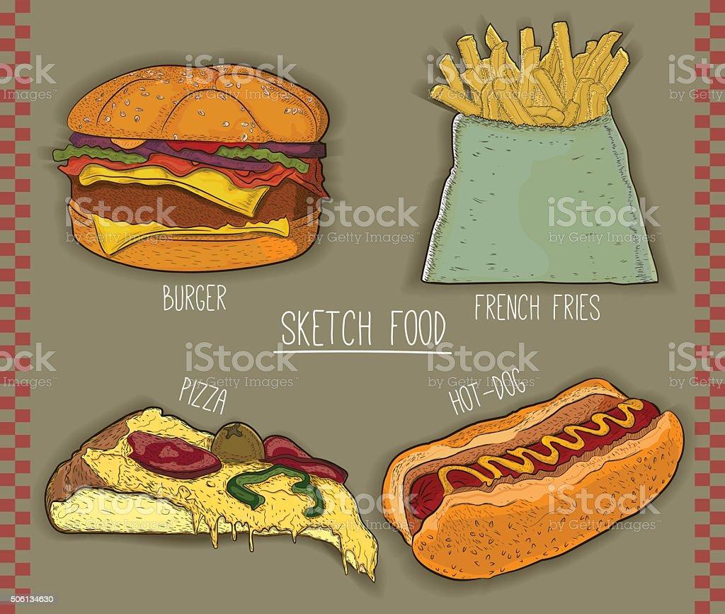 4 fast food items for restaurants menu. vector art illustration