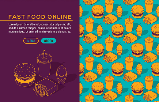 Fast Food Junk Meal Burger Soda Fries Isometric Seamless Pattern Brochure Template