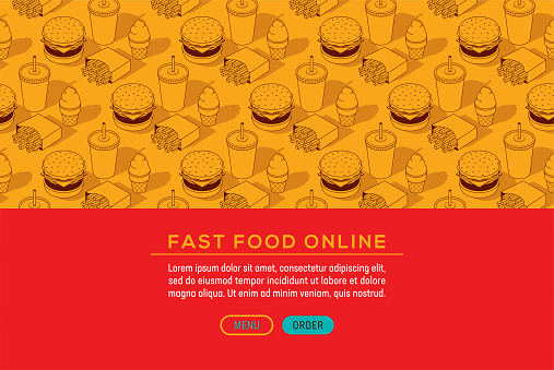 Fast Food Junk Meal Burger Soda Fries Isometric Seamless Pattern Web Page Template