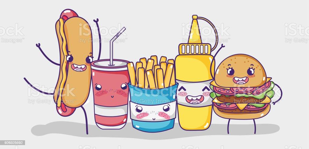 Comida kawaii dibujos animados arte vectorial de stock y for Cocinar imagenes animadas