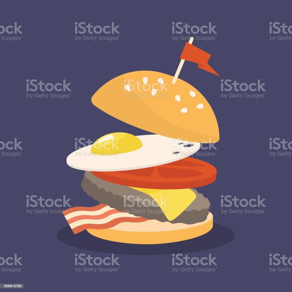 Fast food layered burger vector art illustration