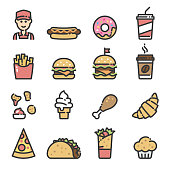 Line art icons of fast foods. Burgers, cheeseburgers, shawarma, kebab, taco, soda, coffee, burrito, worker, hot dog, donut, fries, chicken leg, ice cream, croissant, chicken nuggets, muffin.