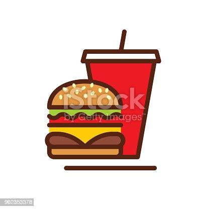 istock Fast Food line icon 962353378