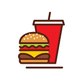 Burger cold drink vector icon. Vector EPS 10, HD JPEG 4000 x 4000 px