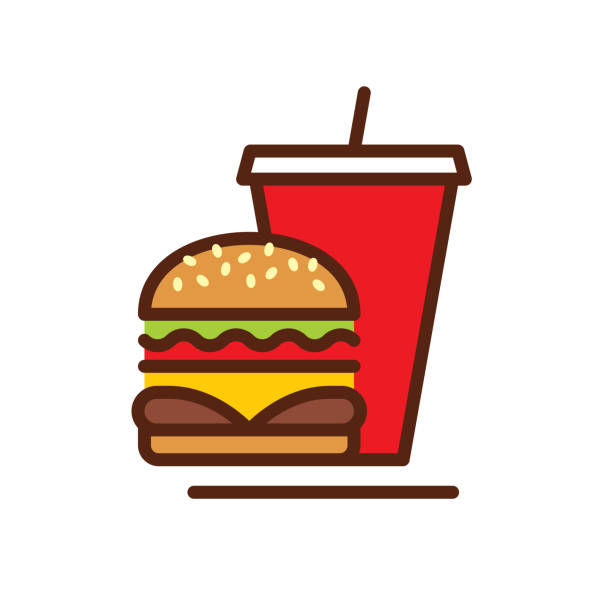 stockillustraties, clipart, cartoons en iconen met fast food lijn pictogram - hamburgers