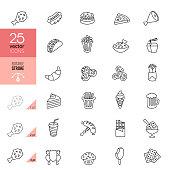 Fast Food Line Icons. Editable Stroke.