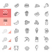 Fast Food Line Icons. Editable Stroke.