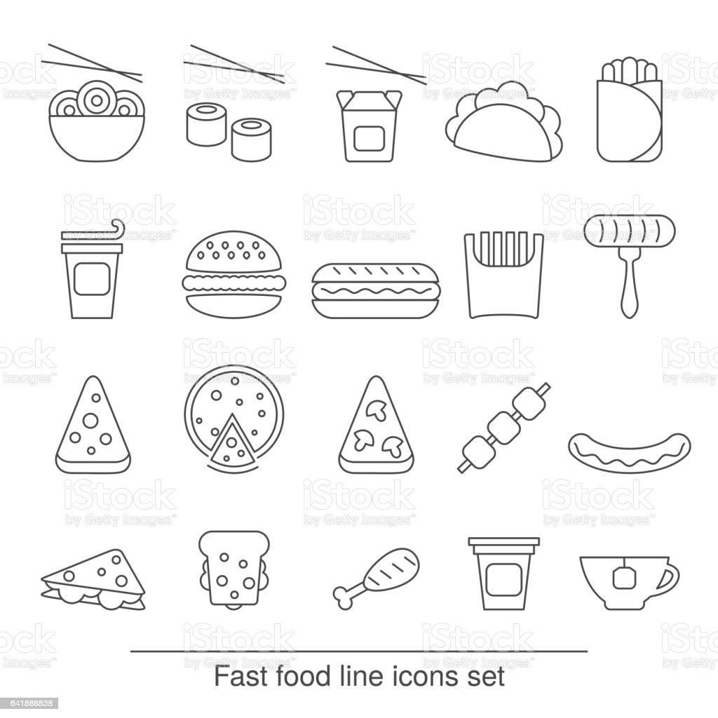 fast food line icons set vector art illustration