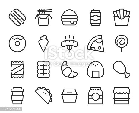 Fast Food Line Icons Vector EPS File.