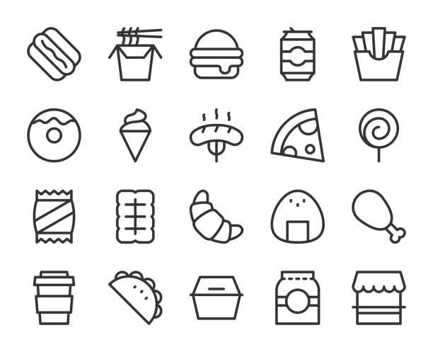 fast-food - linie symbole - ungesunde ernährung stock-grafiken, -clipart, -cartoons und -symbole