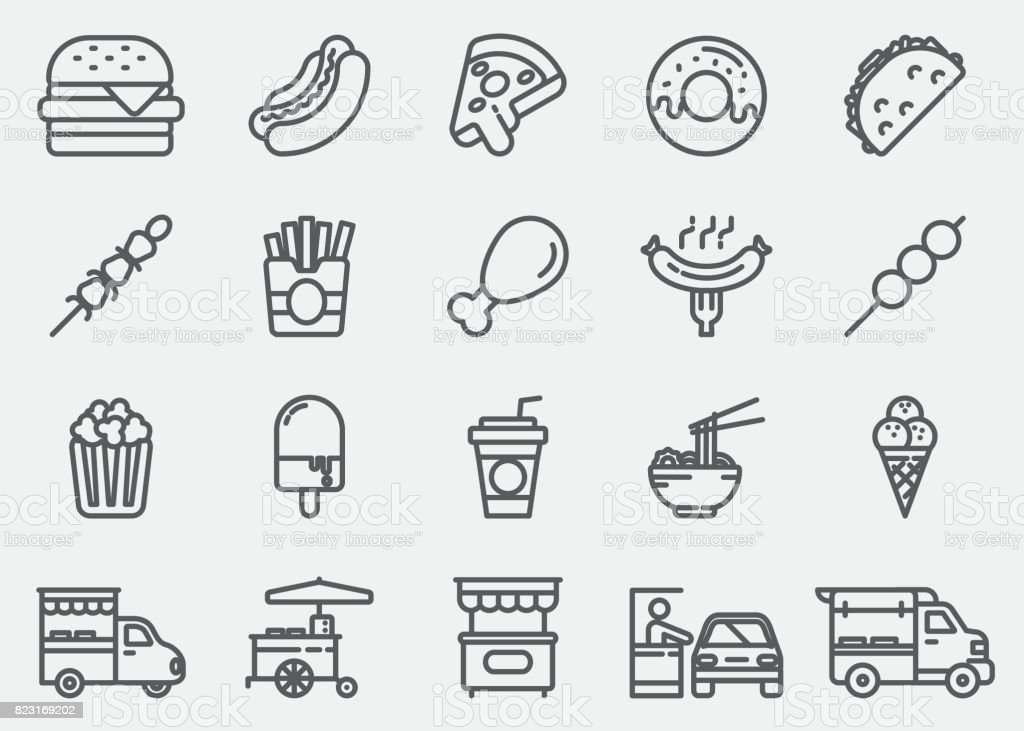 Fast Food Line Icons vector art illustration