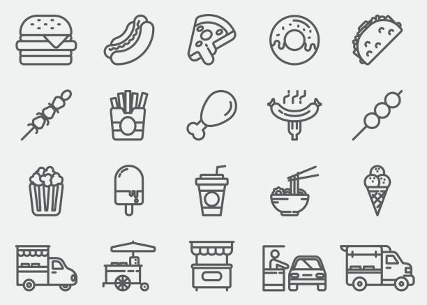 fast food line icons - junk food stock illustrations, clip art, cartoons, & icons