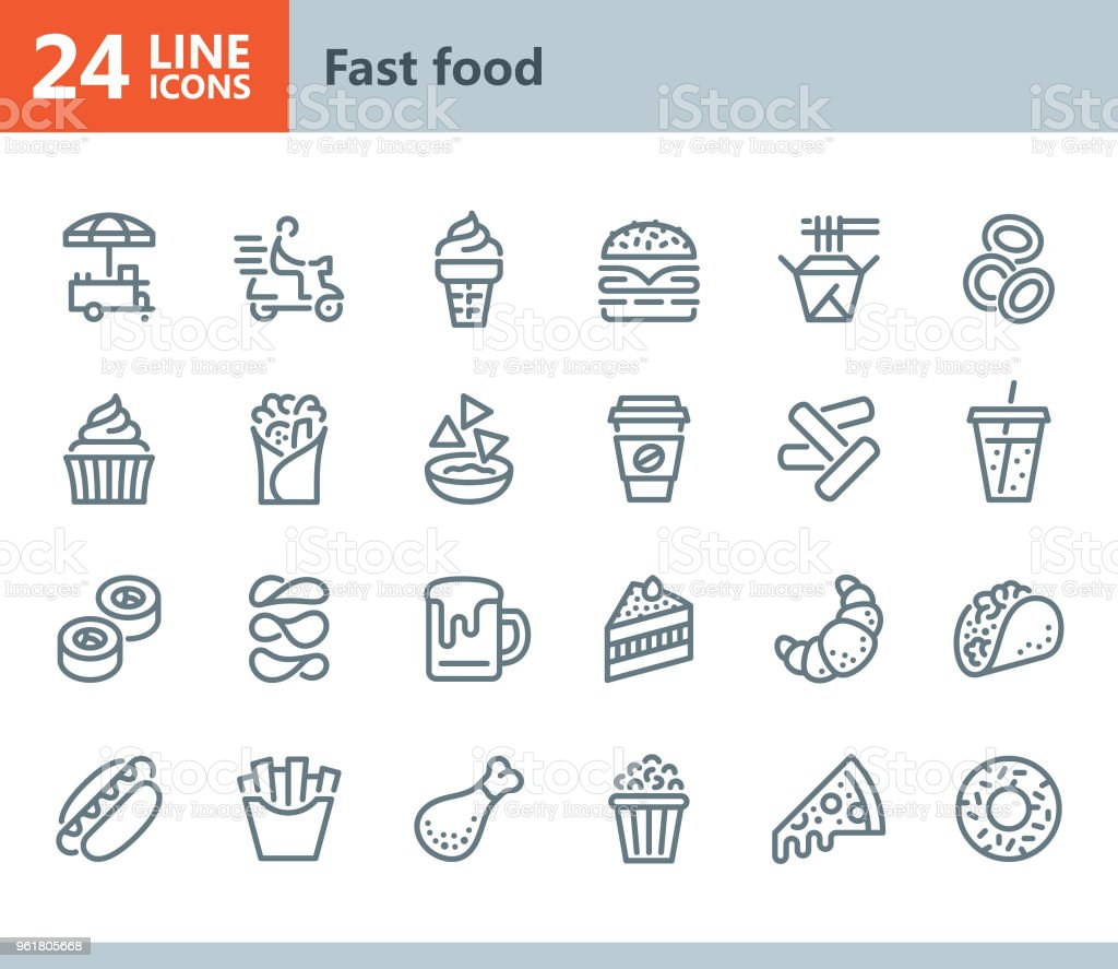 Fast Food - line vector icons vector art illustration