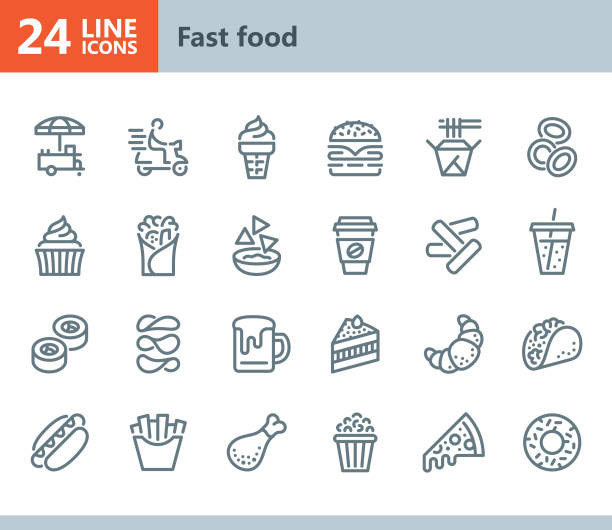 Fast Food - line vector icons Vector Line icons set. One icon consists of a single object. Files included: Vector EPS 10, HD JPEG 3000 x 2600 px french fries stock illustrations