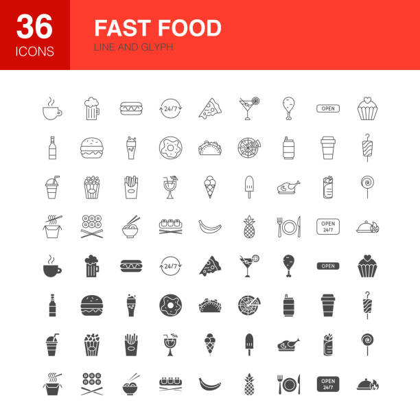 Fast Food Line Web Glyph Icons Fast Food Line Web Glyph Icons. Vector Illustration of Street Outline and Solid Symbols. cheeseburger stock illustrations