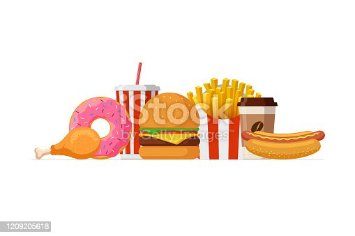 Fast food lunch meal set. Classic cheese burger, french fries pack, fried crispy chicken leg, glazed donut, soft drink, coffee cup and hot dog. Flat eps vector illustration