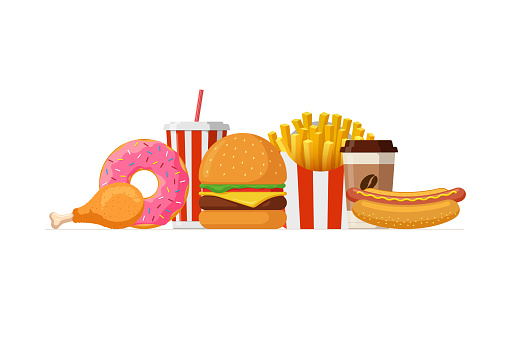 Fast food lunch meal set. Classic cheese burger, french fries pack, fried crispy chicken leg, glazed donut, soft drink, coffee cup and hot dog. Flat vector illustration