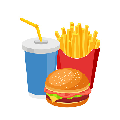 Fast food meal colorful burger french fries and soda isolated on white