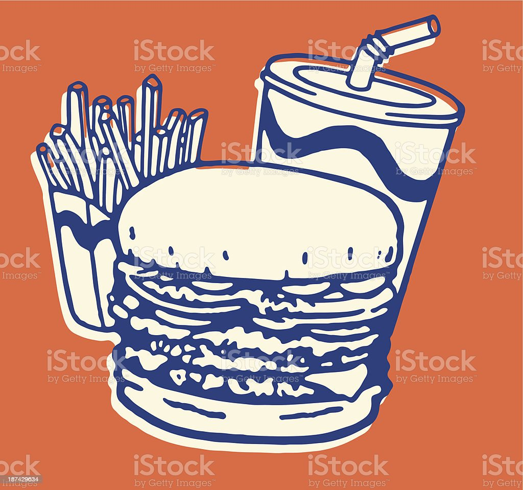 Fast Food Meal of French Fries, Burger, and Soda vector art illustration