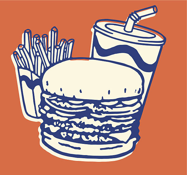 stockillustraties, clipart, cartoons en iconen met fast food meal of french fries, burger, and soda - friet