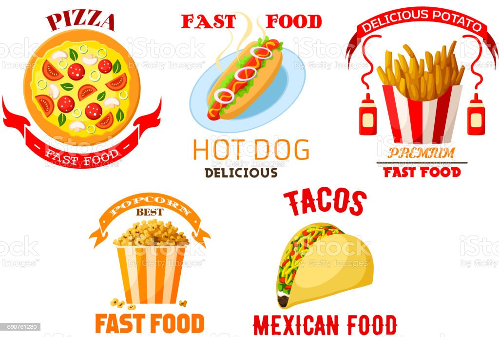 Fast food meal snacks vector isolated icons set vector art illustration