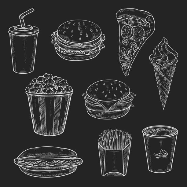fast-food gerichte vecor symbole satz von kreide skizze - döner stock-grafiken, -clipart, -cartoons und -symbole