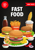 Fast food menu cover, vector burgers and combo snacks hamburger, cheeseburger and french fries. Cola, ketchup sauce and onion rings with spiral potato, chili pepper. Street food meals cartoon poster