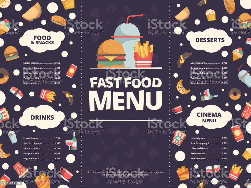 Fast Food Menu Design Template Of Restaurant Menu With Fast Food Flat Pictures Burger Cold Drinks Donut Pizza Vector Stock Illustration Download Image Now Istock