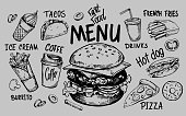 Fast food menu. Hand drawn sketch converted to vector