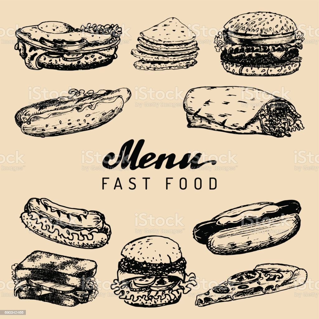 Fast food menu in vector. Burgers, hot dogs, sandwiches illustrations. Snack bar, street restaurant, cafe icons. vector art illustration