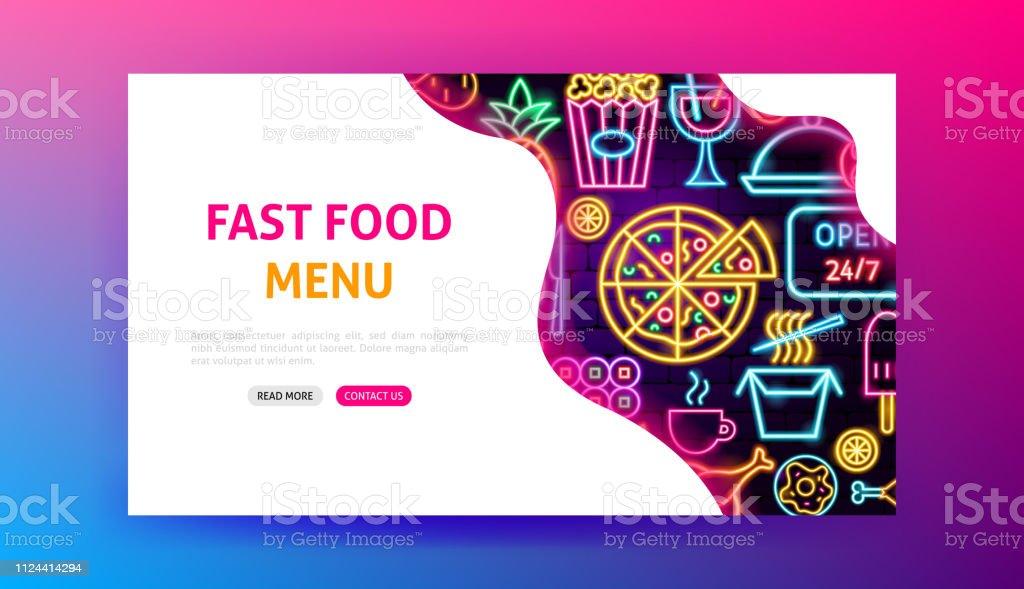 Fast Food Menu Neon Landing Page