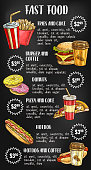 Fast food menu design on chalkboard with burger, drink, dessert. Hamburger, hot dog, fries, pizza, donut, coffee and cheeseburger takeaway meal sketch on blackboard with price list text layout