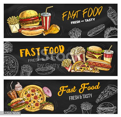 Fast food burgers and sandwiches menu, vector sketch banners. Fastdood restaurant and foodcourt bistro menu pizza, cheeseburger and hot dog, chicken leg grill, french fries, soda drink and popcorn