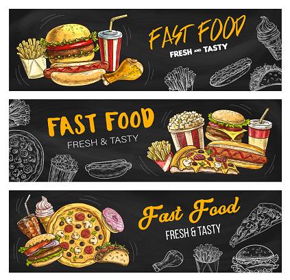 Fast food menu pizza, burgers and fastfood snacks