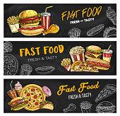 istock Fast food menu pizza, burgers and fastfood snacks 1220376330