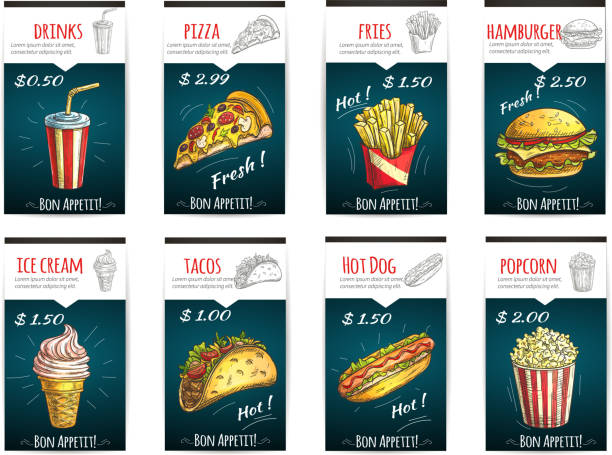 Fast food menu price posters with description vector art illustration