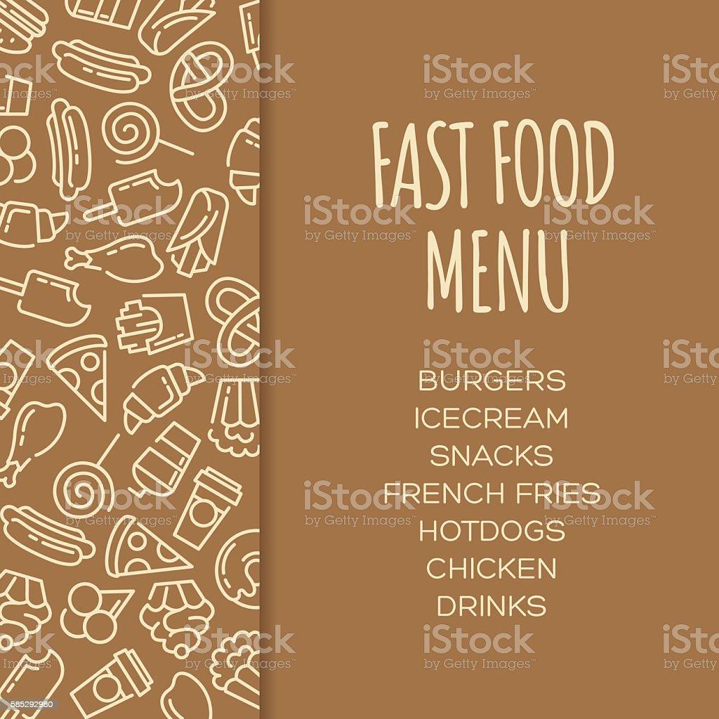fast food menu set of cartoon vector background stock vector art