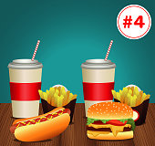 fast food menu template with combo meal number four vector illustration design