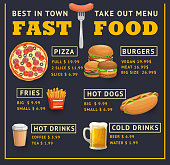 Fast food menu vector template, takeaway dishes pizza with salami, hot dog, french fries or burgers, hot and cold drinks. Cartoon menu take out combo meals, junk food dishes and beverages assortment
