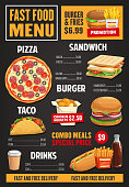 Fast food menu vector template, takeaway dishes pizza with salami, hot dog, french fries or burgers, sandwich and chicken nuggets with hot and cold drinks. Combo meals, junk food dishes and beverages