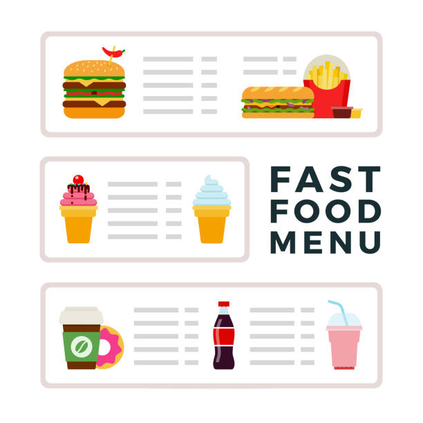 Royalty free making ice cream clip art vector images fast food menu with ice cream burgers and drinks flat vector vector art illustration ccuart Choice Image