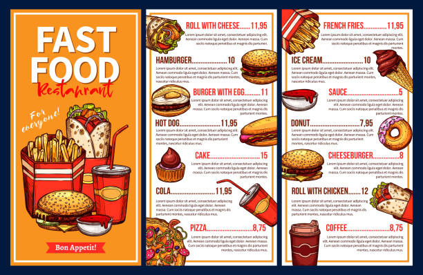 ilustrações de stock, clip art, desenhos animados e ícones de fast food menu with takeaway lunch meal and drinks - ementa