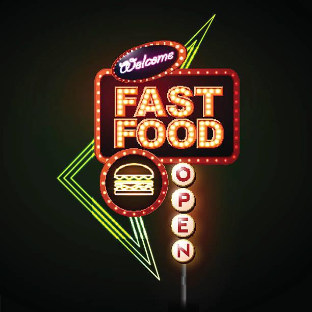 fast-food-neon zeichen - lampenshop stock-grafiken, -clipart, -cartoons und -symbole