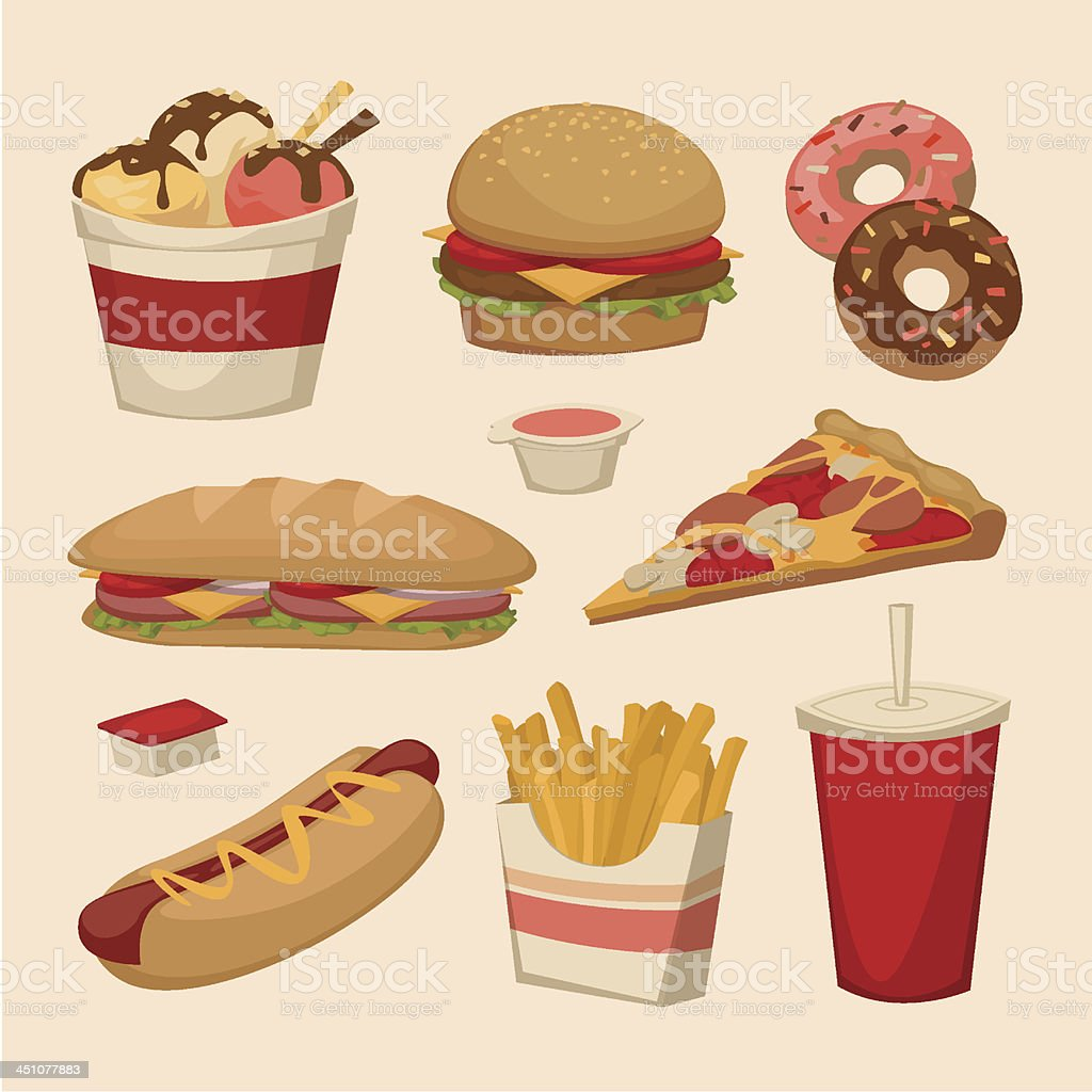 Fast food. Objects set royalty-free stock vector art