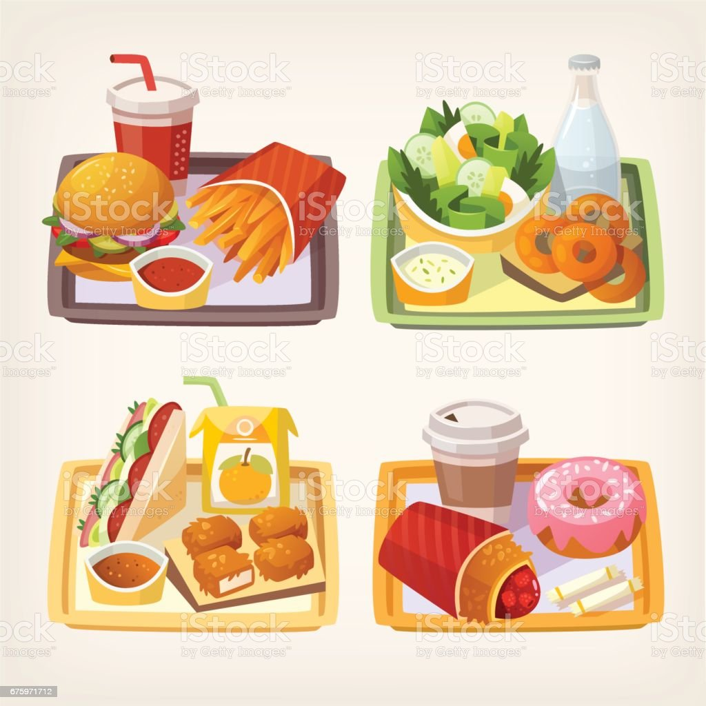 Fast food on tray vector art illustration