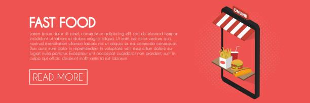 fast-food-online-shop-konzept. isometrische telefon schaufenster vektor-illustration. web-banner-vorlage - hamburger schnellgericht stock-grafiken, -clipart, -cartoons und -symbole